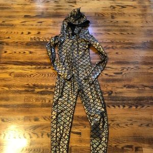 Other - Dragon Costume Zipper Gold Scale Catsuit